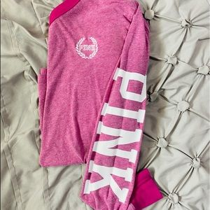 PINK LONGSLEEVE TEE WITH WRITING ON THE SLEEVES